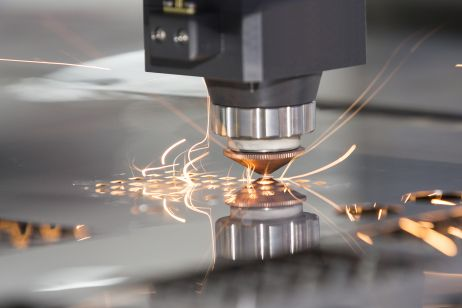 Laser cutting metal close-up