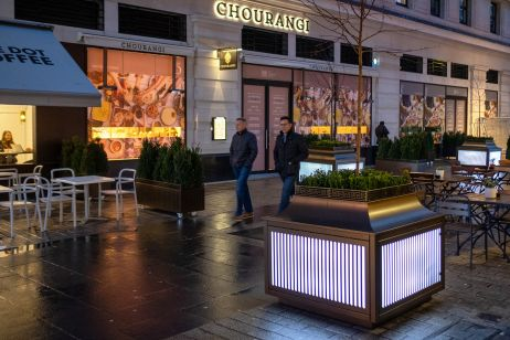 Illuminated public street planters
