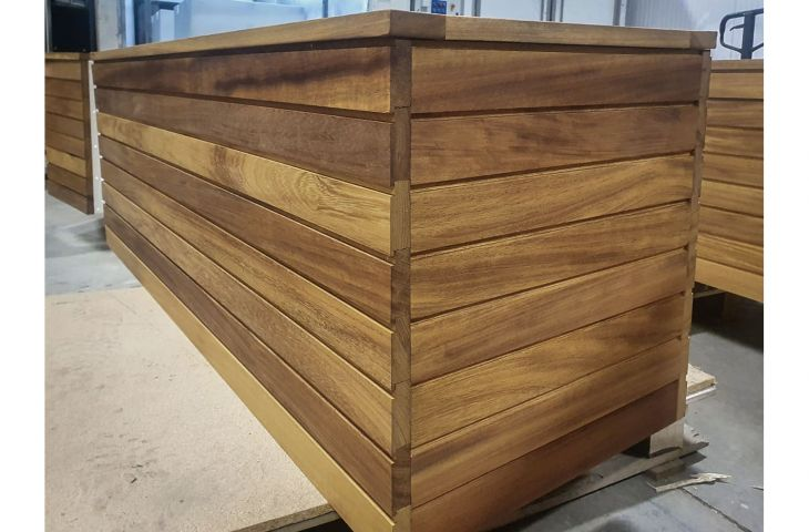 Steel planters with decorative timber cladding