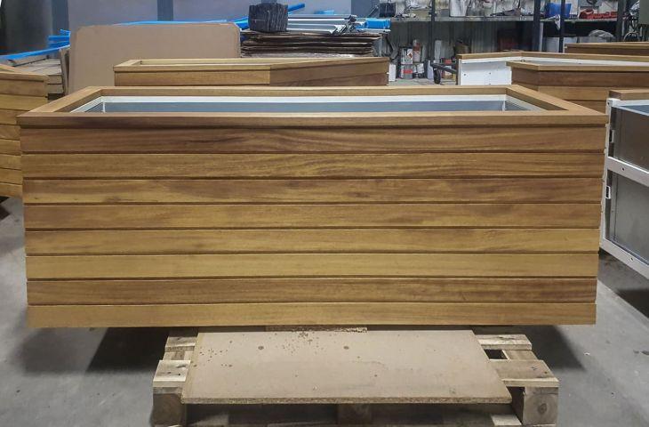 Timber clad metal trough planter