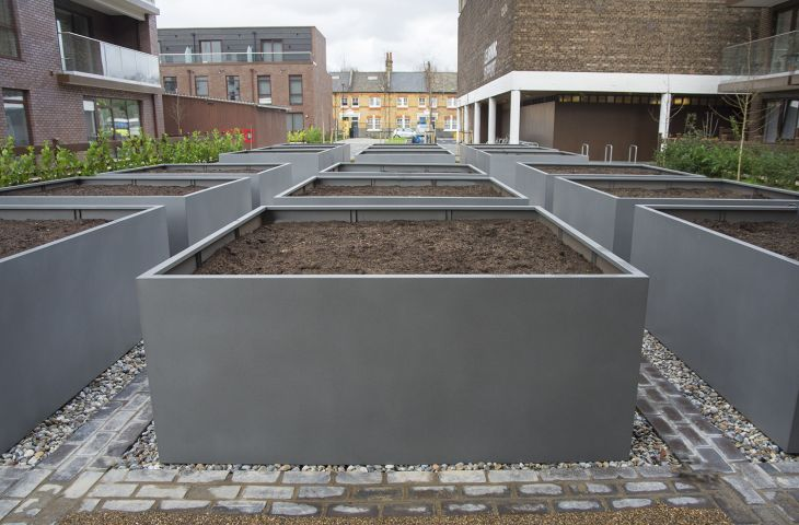 Planters size L2200 x W 2200 x H 900mm at Baylis Old School, Lambeth, London SE11