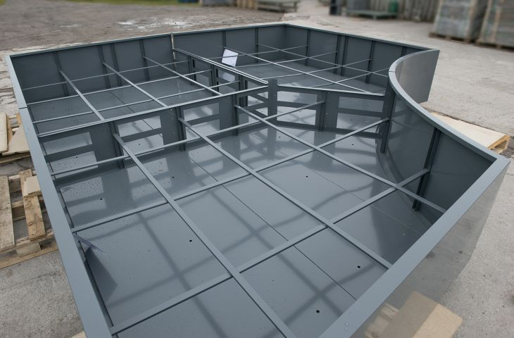 All planters are reinforced with internal struts, and large planters are sectional,  as here