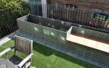 Bespoke steel planter / bench clad with terrazzo tiles