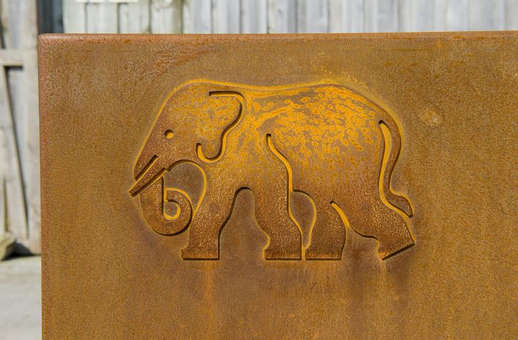 Corten planter with elephant motif in relief