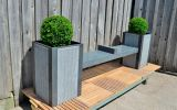 The planters are W/D 500 x H 800mm, and the bench section is L 2000mm