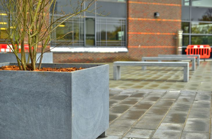 Bespoke granite benches and tree planters at Interchange, Croydon
