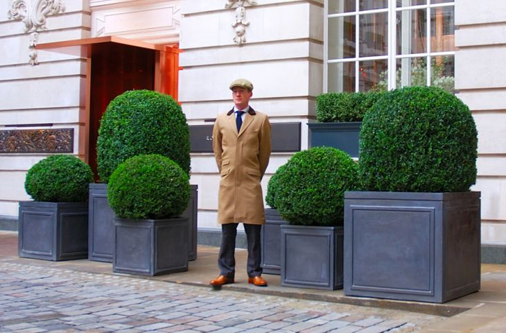 Lead planters at Rosewood London