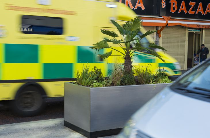 The Ealing Council planters were dims. L 2000 x W 1000 x H 800mm, including a H 100mm plinth