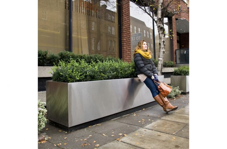 Stainless steel trough planters [L 3000 x W 600 x H 600mm] for prime office building in Dublin