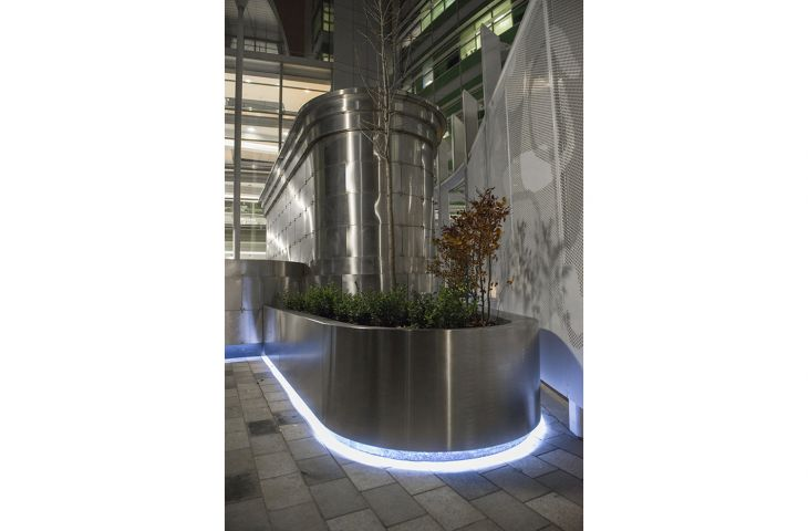 The UCH planters included a recess to house LED lighting