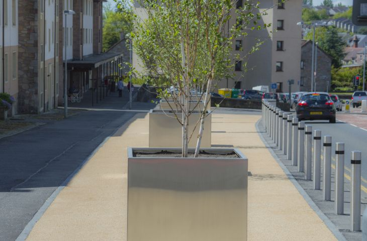 The planters for Clackmannanshire Council were dims. L 1200 x W 1200 x H 1200mm