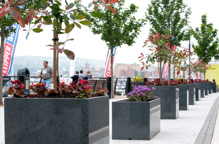 Granite street planters for Derry City Council