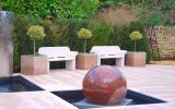Custom granite planters for private client minimalist water garden
