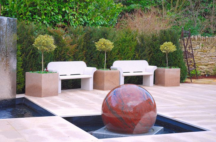 Custom granite planters for private client minimalist water garden