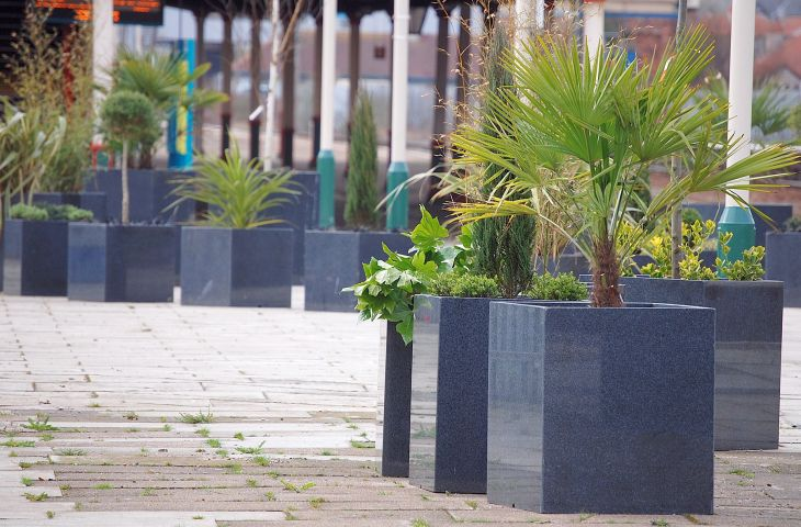 Bespoke granite planters at Rhyl Railway Station