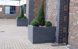 Custom granite tree planters at Plantation Wharf, Battersea
