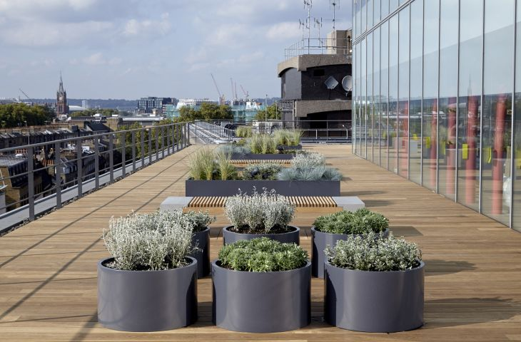 Bespoke powder coated steel planters at Warner Brothers offices, London