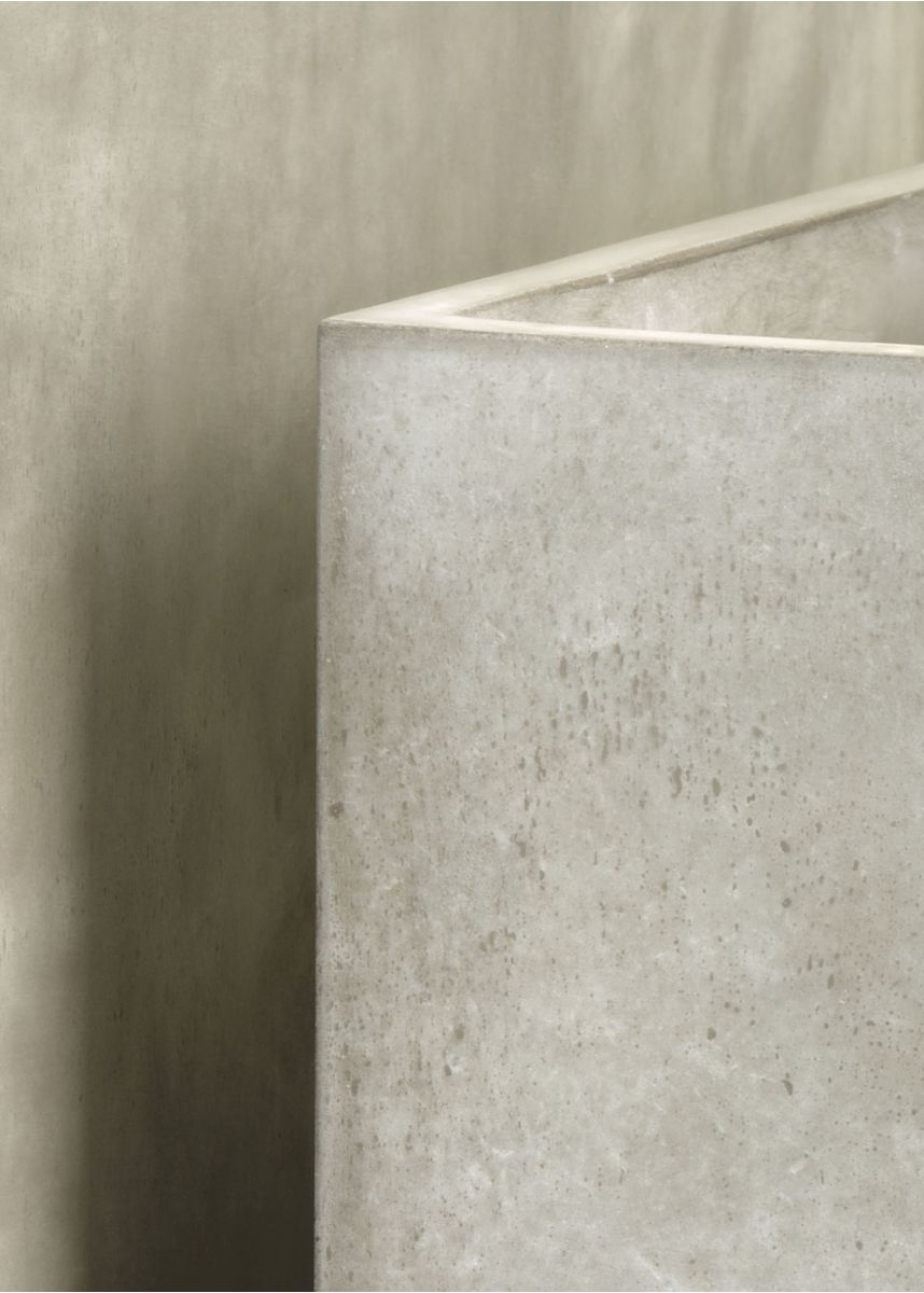 Polished plaster large rectangular planter   close up