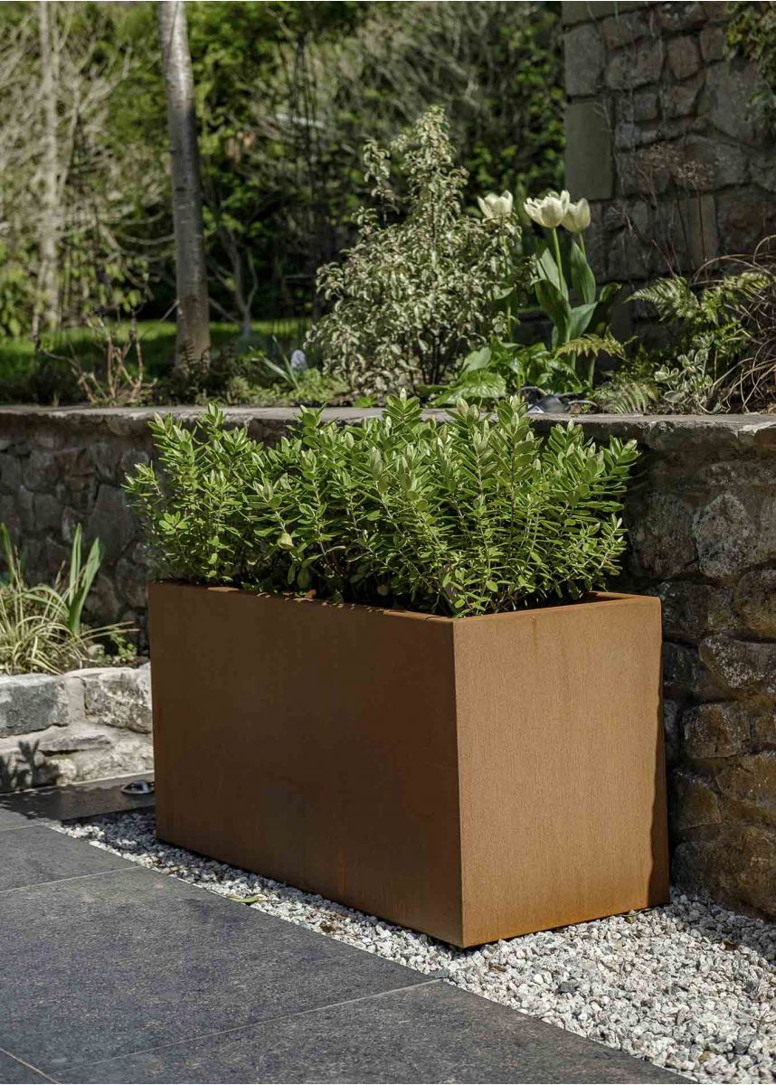 Weathered Corten Garden Planter