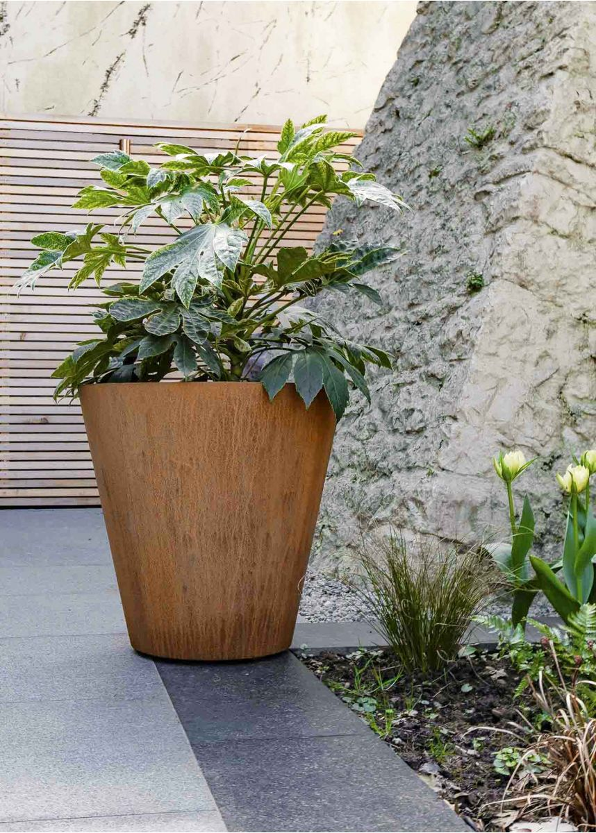 60cm High Corten Round Planter