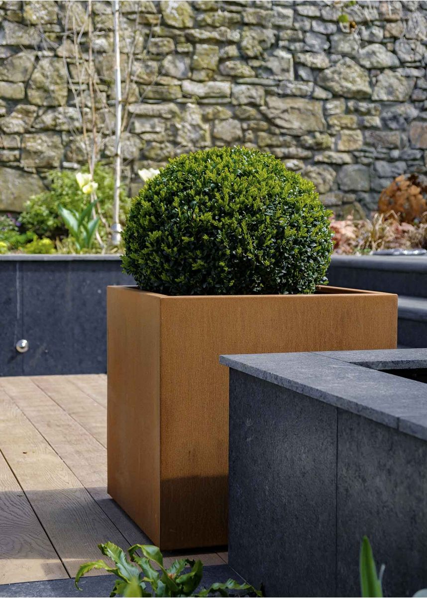 Weathered Corten Steel 60cm Cube Planter