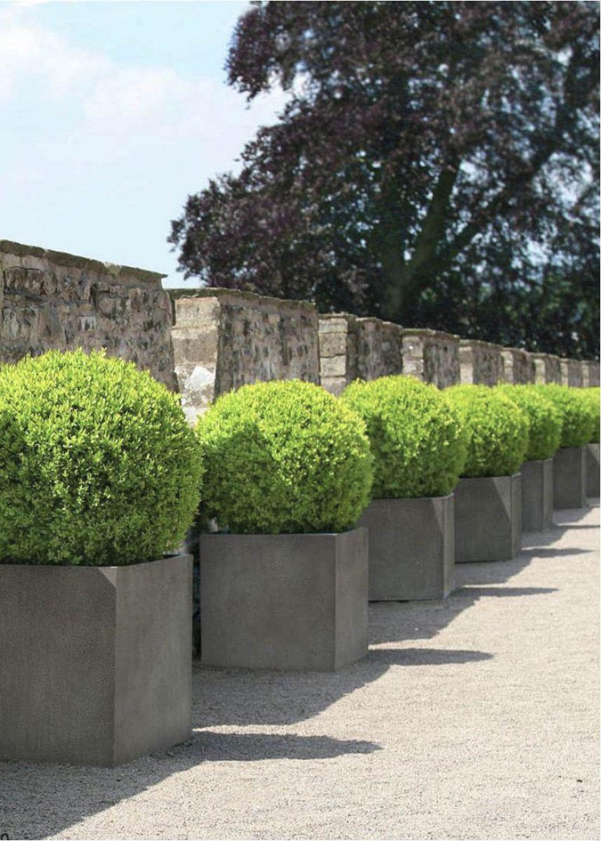 Modern GRP Grey Cube Garden Planters