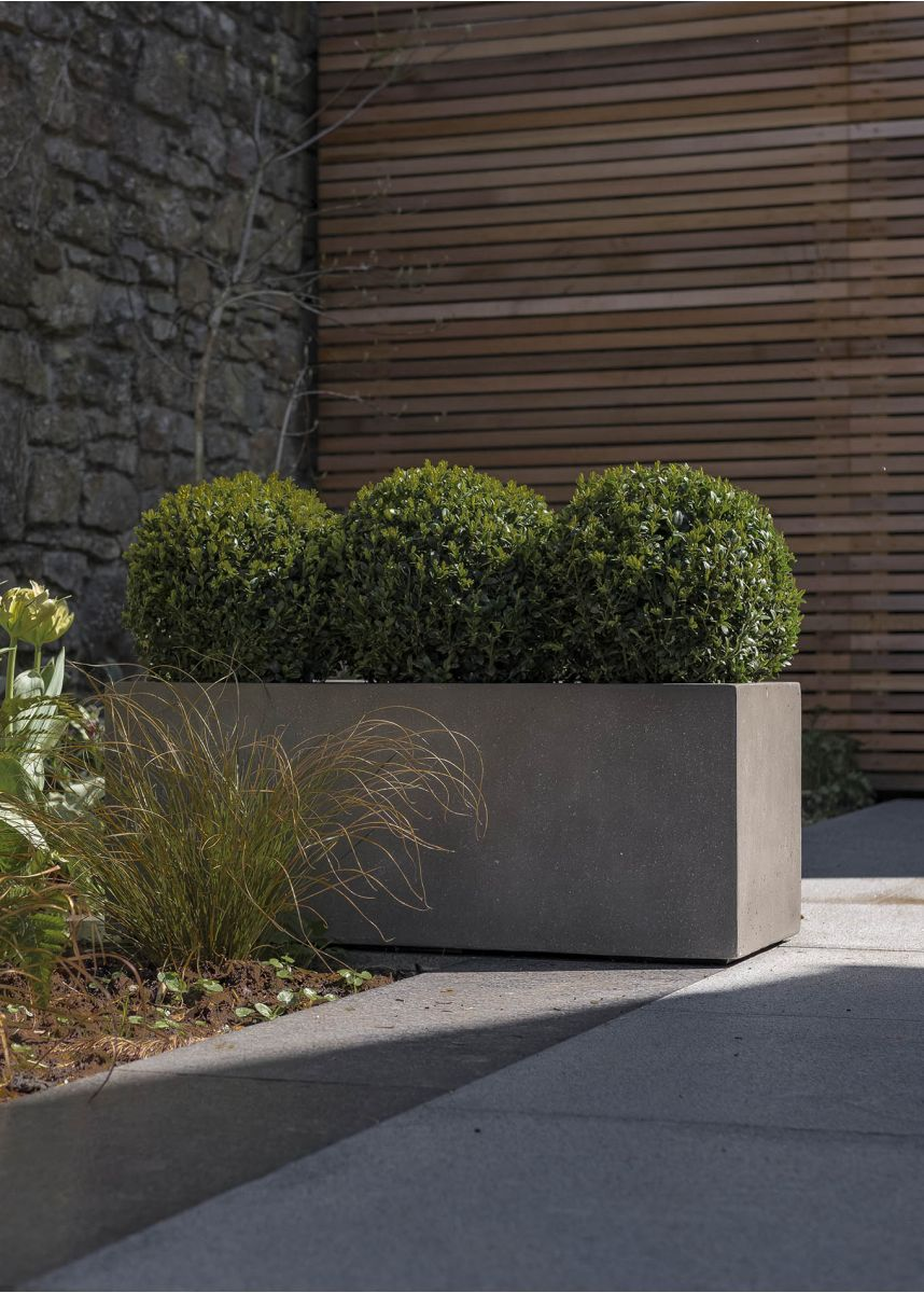 Lightweight Grey Trough Planters