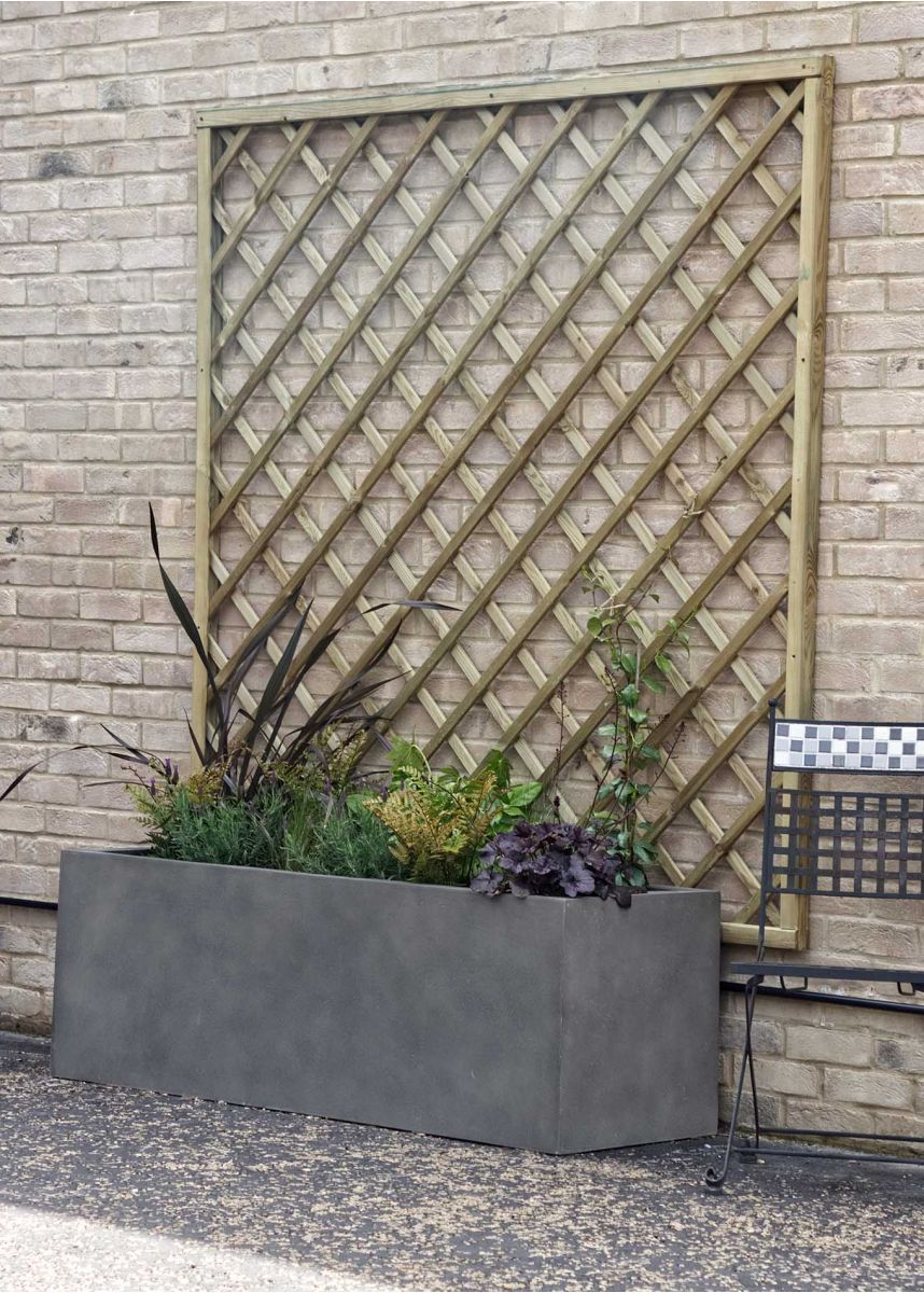 Rectangular plant container with trellis