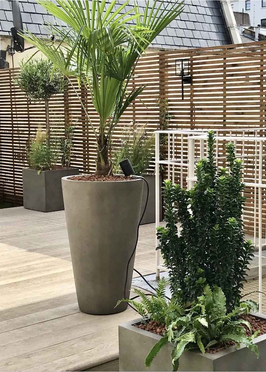 tall round garden planter, grey