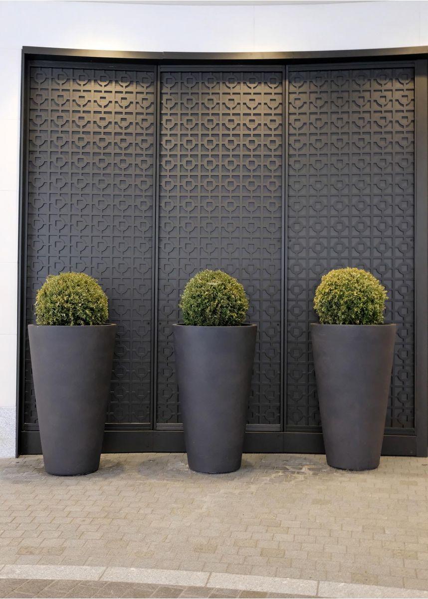 Tall round dark grey plant container