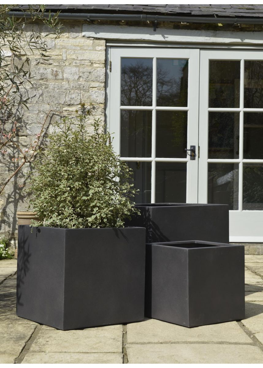 Brown Black Cube Plant Pots