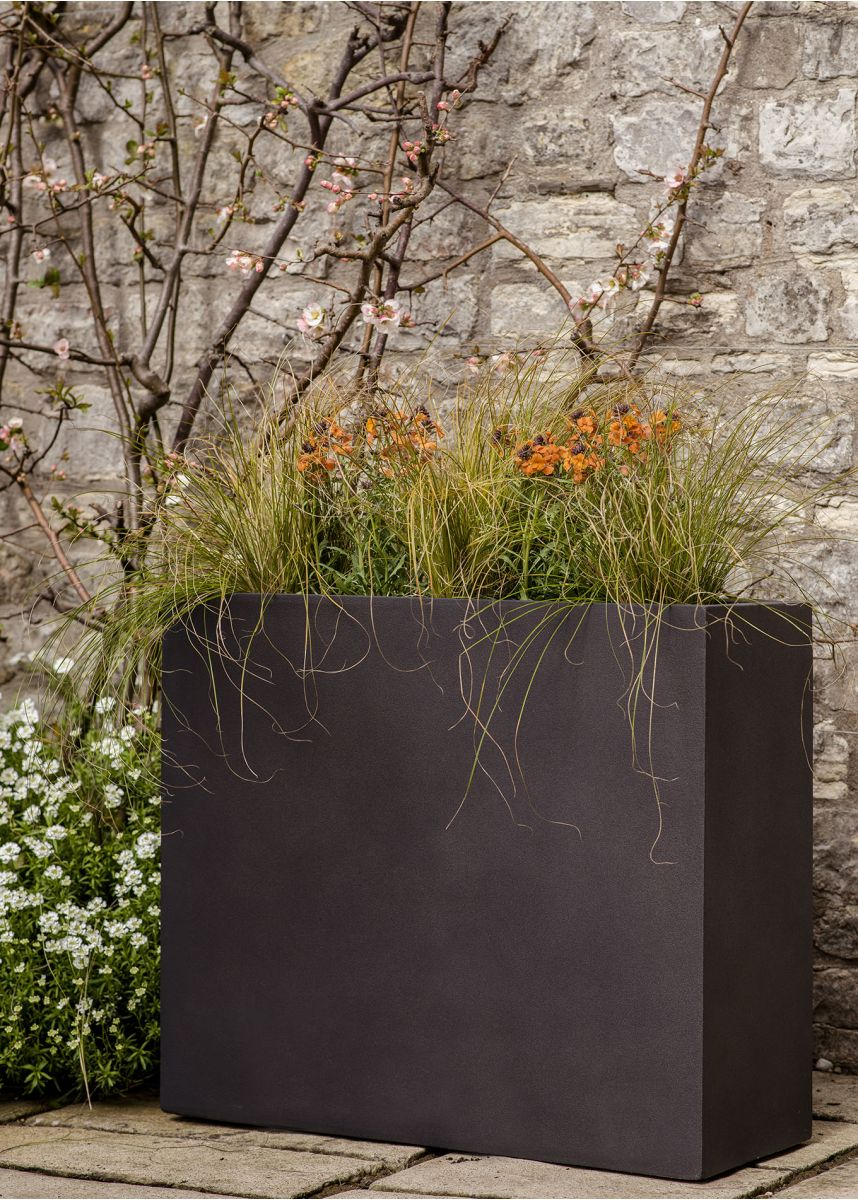 Brown Black Rectangular Plant Pots