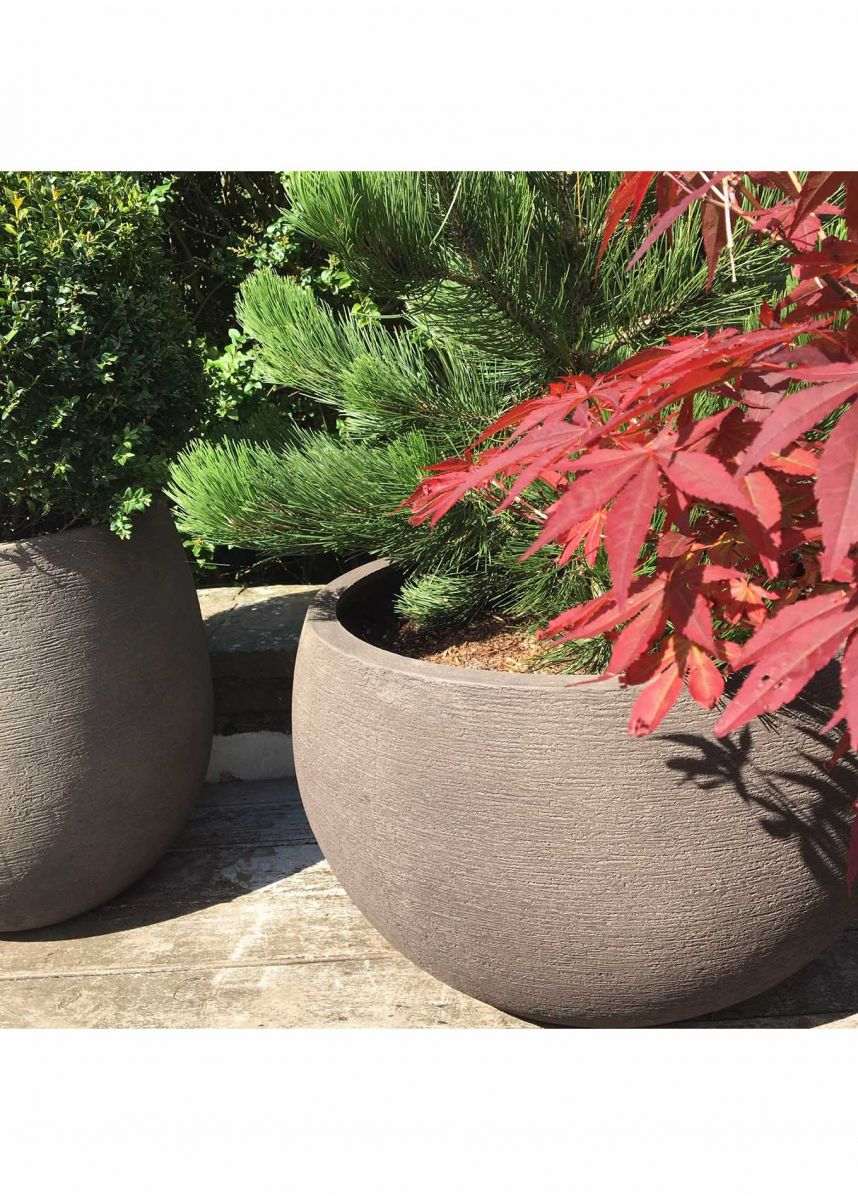 rustic look bowl shaped planter