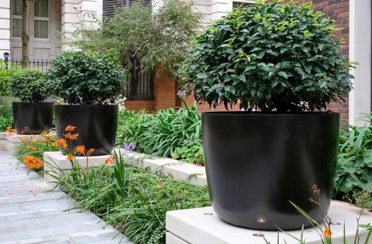 Black large round planters