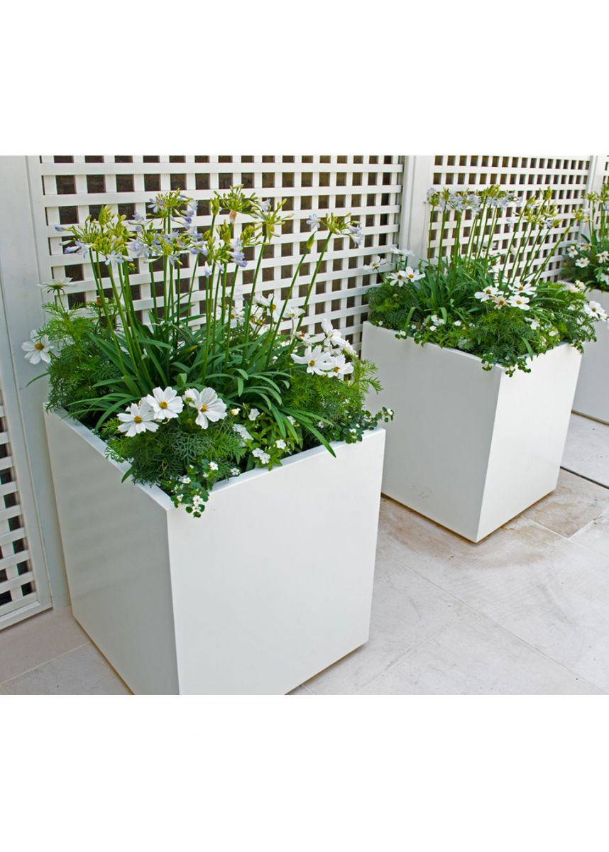 White Cube Steel Planter