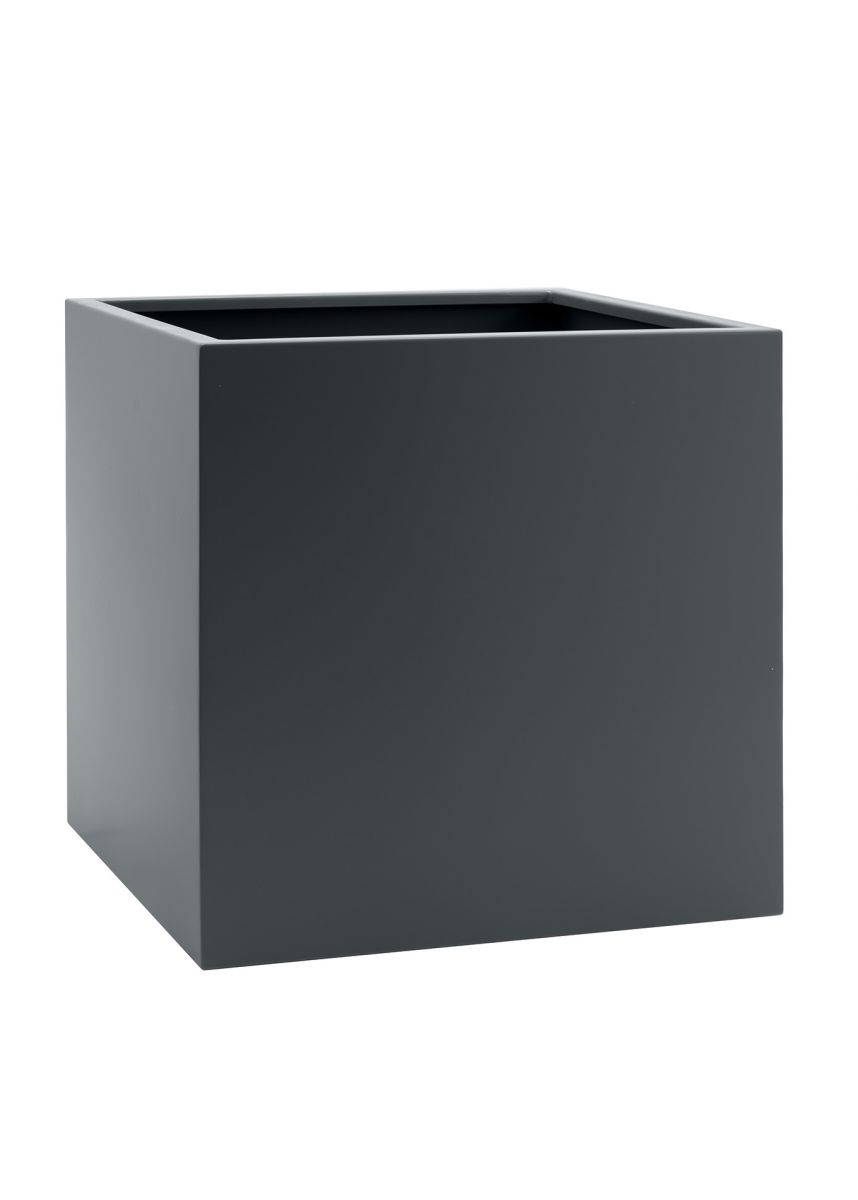 Grey cube steel planter