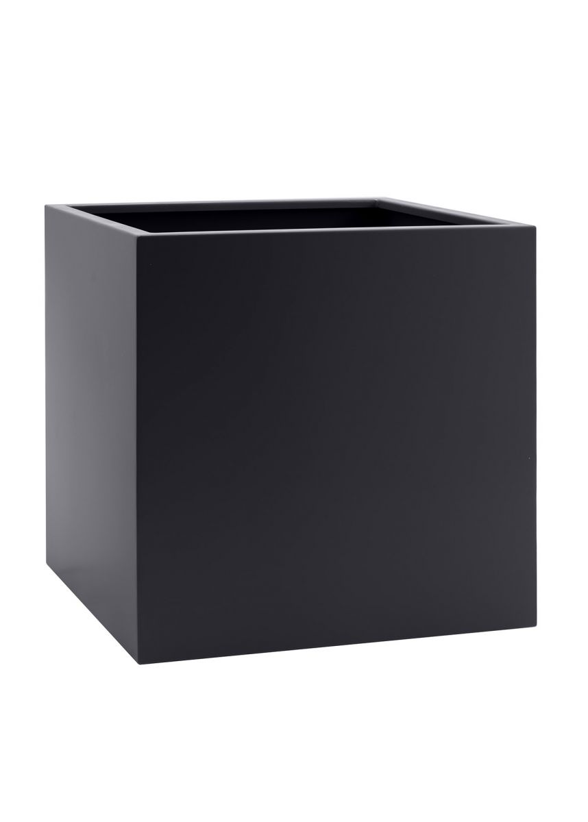 Black cube steel planter