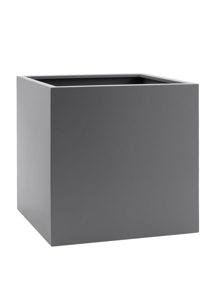 Modern cube coated steel planter