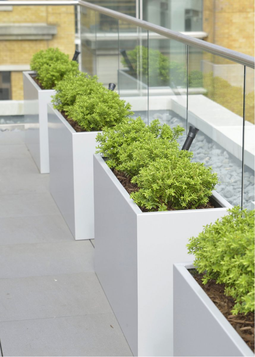 White powder coated steel planters