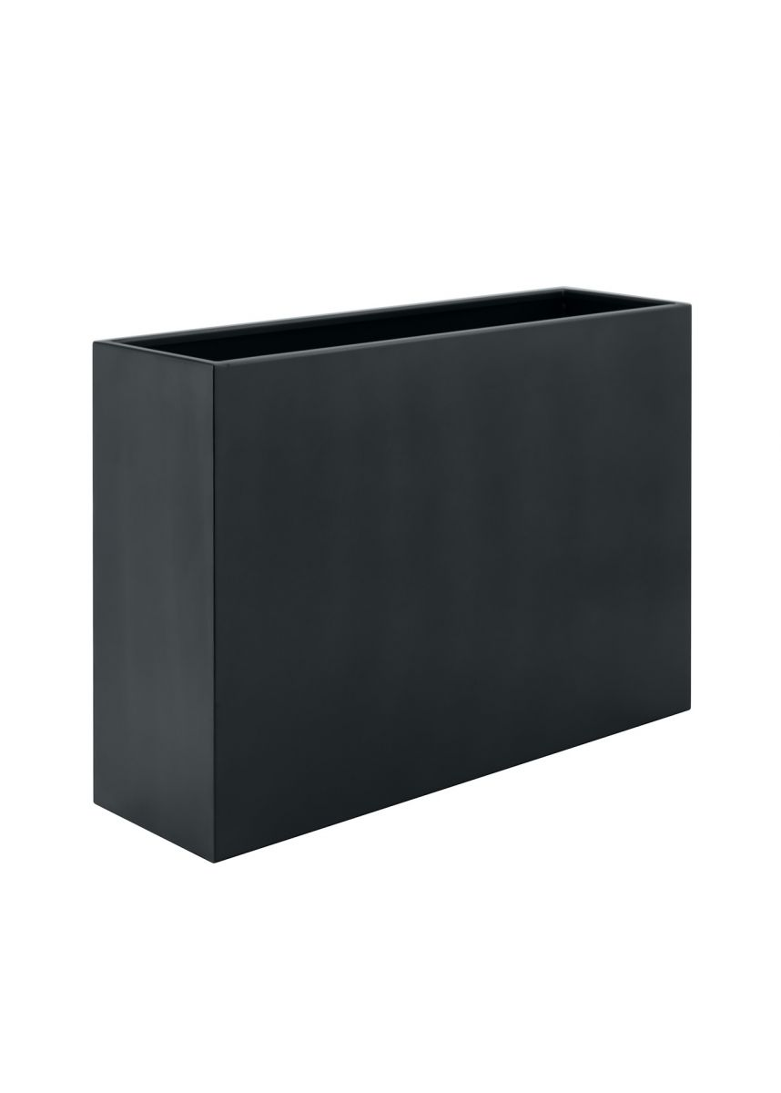 Grey black tall trough steel planter