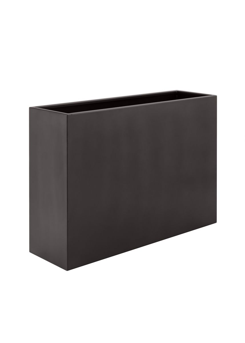 Grey brown rectangular coated steel planter