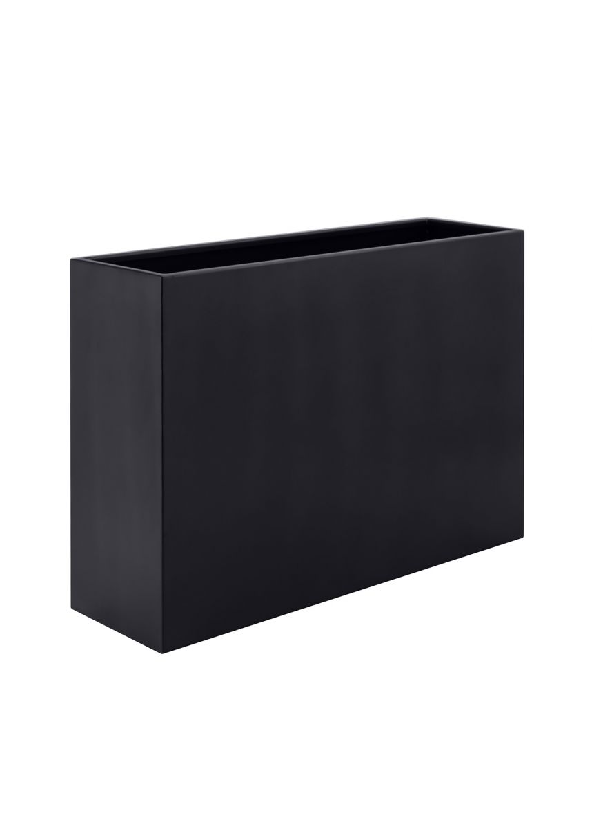 Black rectangular steel planters