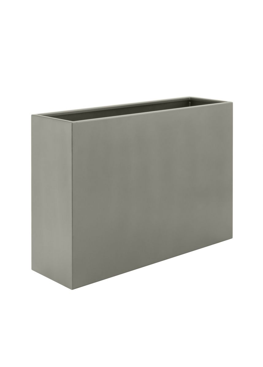 Stone grey outdoor steel planters