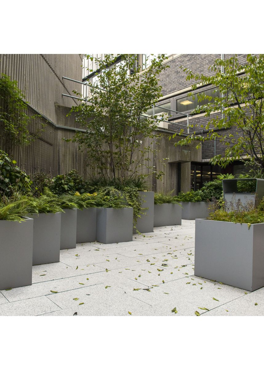 Grey square planters in powder coated steel