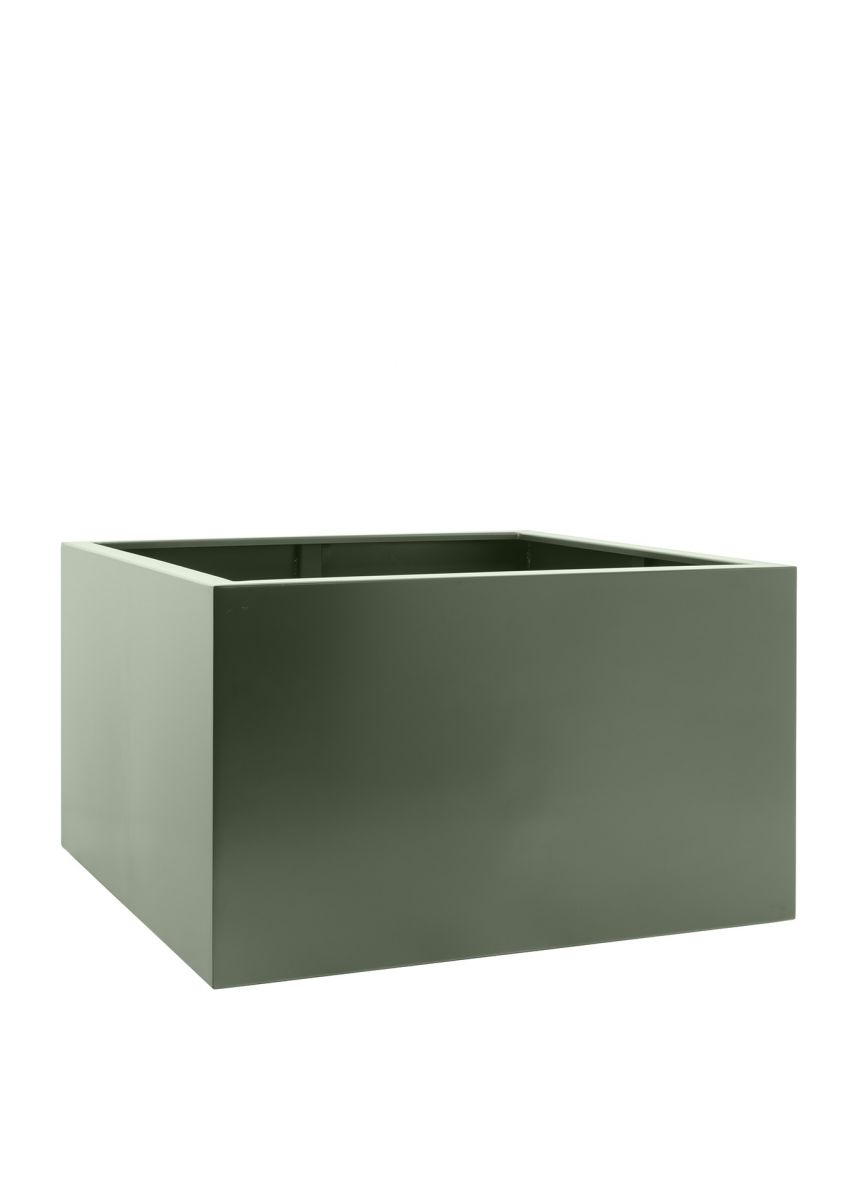 Cement grey garden planters in steel