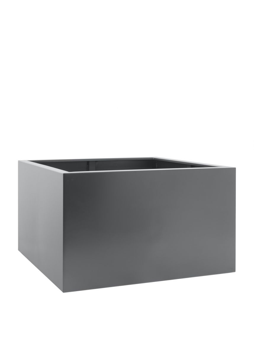 Grey powder coated steel planter