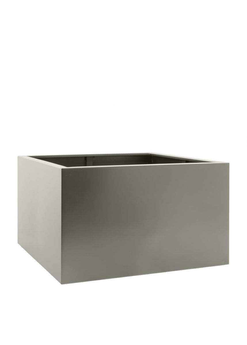 Modern stone grey steel planter