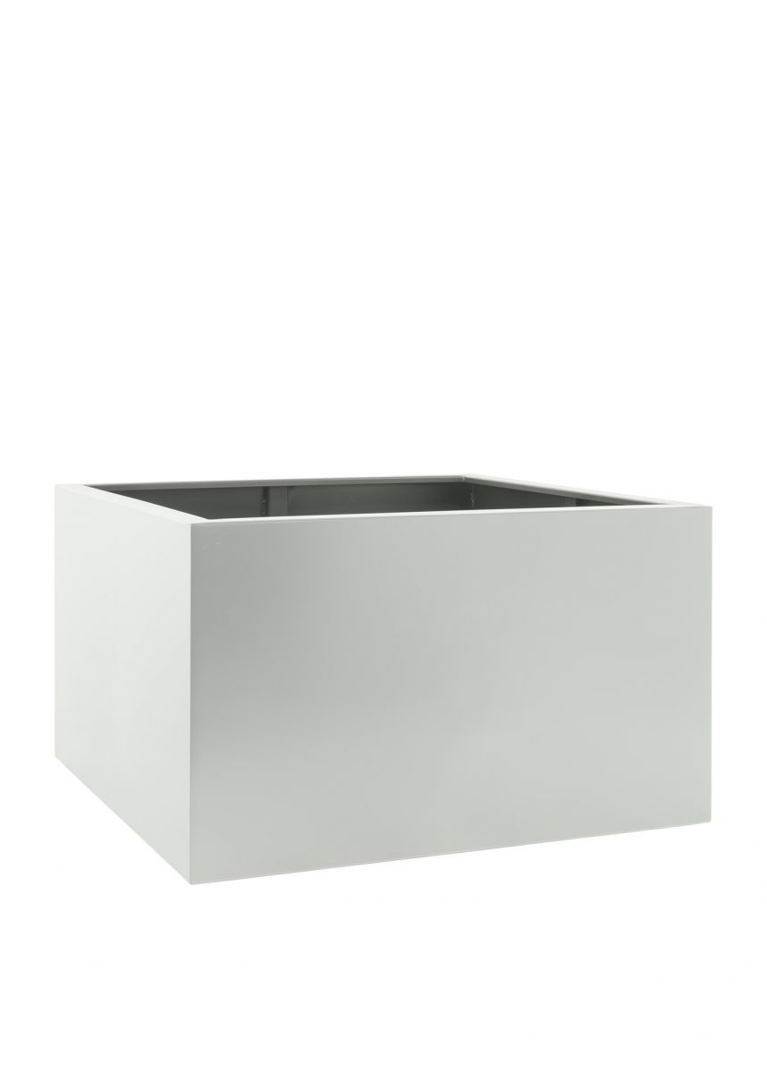 Square steel planters in white