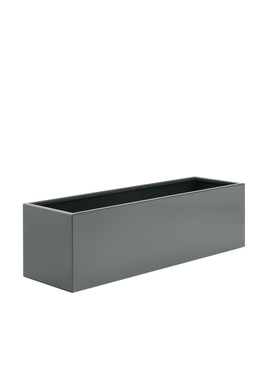 Trough steel planter in grey