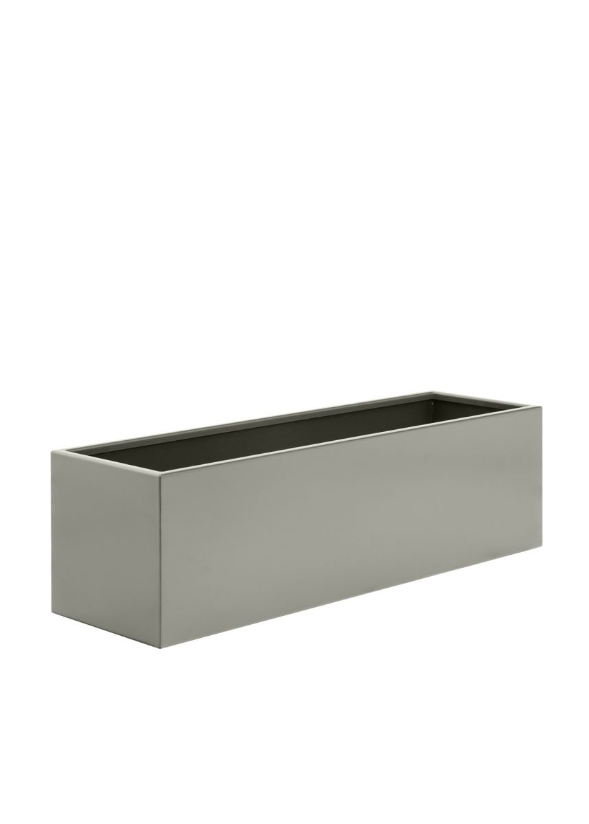 Stone grey trough steel planter